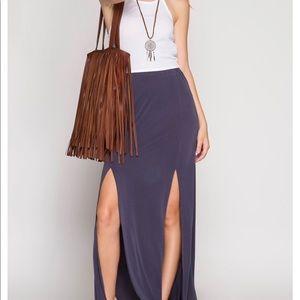 Dusty Purple Double Slit Maxi Skirt